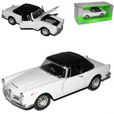 Alfa Romeo Spider 1960 2600 Weiss Soft Top Cabrio 1961-1969 1/24 Welly Modell ..