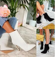 LADIES WOMENS HIGH HEELS STUDDED ANKLE STILETTO POINTED ZIP SHOES BOOTS SIZE 3-8