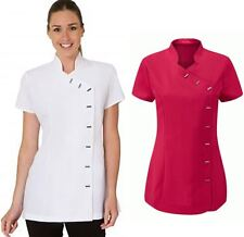 Womens Short Sleeve Beauty Spa Uniform Ladies Fancy Therapist Massage Tunic Top