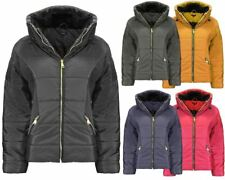 Ladies Women Zipped pocket Quilted Padded Bubble Jacket Concealed Hooded Coat