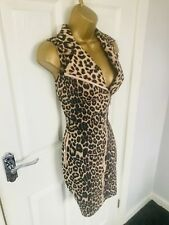 Leopard Print Faux Suede Collared Zip Detail Sexy Bodycon Evening Party Dress