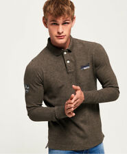 Superdry Mens Classic Pique Long Sleeve Polo Shirt Pebble Earth Ship Worldwide