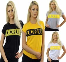 Ladies Vogue Printed T Shirt Womens Short Sleeve Casual Wear Round Neck Top Tee