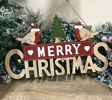 Merry Christmas with Reindeer or Robin Wooden Hanging Christmas Sign 2747