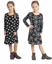 Girls Skull And Spider Printed Black Swing Dress Kids Fancy Party Wear Costume