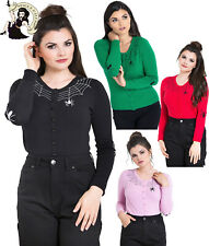 HELL BUNNY SPIDER WEB miss muffet HALLOWEEN BLACK PINK RED CARDIGAN XS-4XL