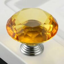 Chic 1.57in Crystal Glass Handle Amber Door Knobs Cupboard Wardrobe Cabinet Pull