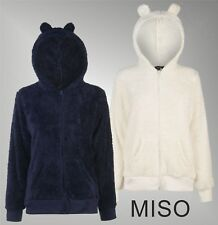 Ladies Designer Miso Full Zip Super Soft Fleece Hooded Bear Bed Jacket Size 8-22