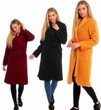 Womens Popcorn Long Sleeve Wrap Over Belted Duster Trench Coat Party Outerwear