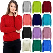Womens Ladies Knitted Crew Neck Long Sleeve Cable Knit Jumper Chunky Sweater Top