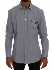 TSH1397#2 Daniele Alessandrini Blue Cotton Slim Fit Casual Shirt