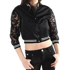 132256 SEXY WOMAN BOMBER MADE IN ITALY DONNA NERO SEXY WOMAN