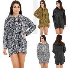 Ladies Animal Leopard Print Hooded Womens Pullover Long Sleeve Winter Jumper