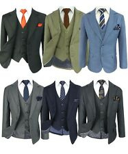 Tailored Fit Kids 6 Piece Page Boys Prom Wedding Communion Suits Black Grey Blue