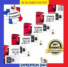 CARTE MÉMOIRE MICRO SD SDHC SDXC KINGSTON 8 / 16 / 32 / 64 / 128 GO + ADAPTATEUR