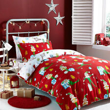 Catherine Lansfield Christmas Elfie Brushed Cotton Bed In A Bag, Red