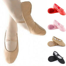 Adult Kids Girls Gymnastics Ballet Dance Shoes Canvas Soft Slippers Pointe Dance