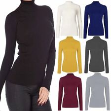 Ladies Long Sleeve Ribbed High Polo Neck Turtle Top Womens Party Wear T Shirt