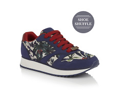 Ruby Shoo Suzie In Navy Gold Spots Or Black Pink Floral Ladies Lace Up Trainers