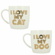 LP33654 LP33653 LESSER & PAVEY I LOVE MY CAT DOG WHITE GOLD FINE CHINA MUGS GIFT