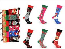 6 12 Pairs Ladies Festive Christmas Design Novelty Socks sock (Size 4-7)