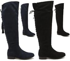 Womens Flat Thigh High Boots Low Block Heel Winter Over The Knee Lace up Boots