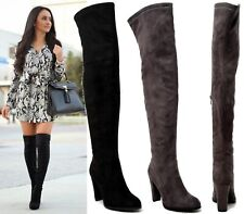 WOMENS LADIES OVER KNEE BOOTS THIGH HIGH FAUX SUEDE LONG HIGH HEEL SHOE SIZE