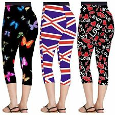 Womens Love Lips Butterfly Flag Print Skinny Stretchy Workout 3/4 Leggings 8-26