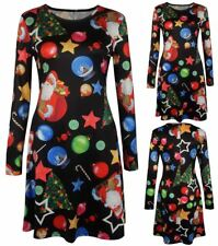Ladies Fancy Xmas Party Lucky Star Swing Dress Womens Long Sleeve Flared Dress