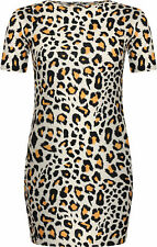 TIME TO PARTY IN THIS GORGEOUS CREAM LEOPARD PRINT SHORT SLEEVE MINI DRESS 8-22