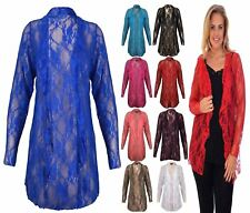 Ladies Long Sleeve Floral Lace Cardigan Womens Fancy Waterfall Open Front Top
