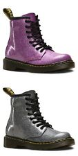 Dr. Martens Kids 1460 Glitter Dark Pink & Gunmetal Lace Up Zip Boots Christmas
