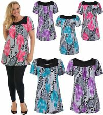 Womens Short Sleeve Floral Print Smock Tunic Top Ladies Stretchy Scoop Neck Top