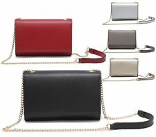 Ladies Small Faux Leather Chain Strap Crossbody Messenger Clutch Shoulder Bag UK