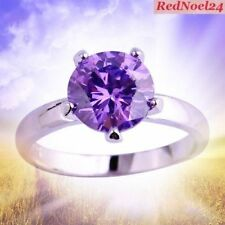 Dainty Endured Purple Amethyst 925 Silver Plated Ring Size 7/8/9/10/11/12/13