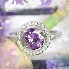 FAB ROUND CLUSTER AMETHYST & WHITE CZ 925 SILVER STAMP RING SIZE 6/7/8/9