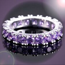 HOTLY TUNED SINGLE BAND ROUND AMETHYST 925 SILVER STAMP RING SIZE 6/7/8/9