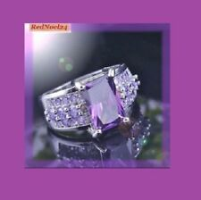 Stratifying Emerald Cut & Round Purple Amethyst 925 Silver Stamp Ring Size 7/8/9