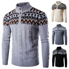 Pull Manches Longues Pull Cardigan Tricot Maille Hiver Col Montant Homme