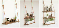 Large Vintage Hanging Wall Shelf Rustic Wooden Rope Country Display Unit Shelf