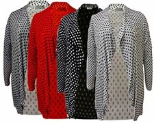 Ladies Party Wear Polka Dot Open Front Cardigan Womens Plus Size Long Sleeve Top