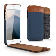 FUNDA TIPO FLIP PARA APPLE IPHONE SE 5 5S CARCASA ABATIBLE DE TELA Y CUERO