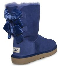 NEW UGG Uggs Bailey bow II Velvet Ribbon Blue Boots Suede Shoes 8 9 eur 39 40