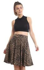 THE BOUTIQUE COLLECTION PLEATED BROWN LEOPARD HIGH WAIST SKATER SKIRT SIZE 8-30