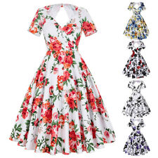 Dress Evening Picnic Prom Size Pinup Cocktail Sleeve Floral Vintage Party Swing
