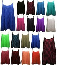 Ladies Floral Lace Camisole Strappy Swing Dress Womens Fancy Sleeveless Vest Top