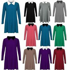 Ladies Peter Pan Collar Flared Swing Dress Womens Long Sleeve Fancy Party Dress