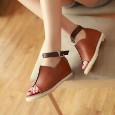 Women's Roma Flats Wedge Inside Leather Open Toe Sandal Buckle Shoes Plus Size