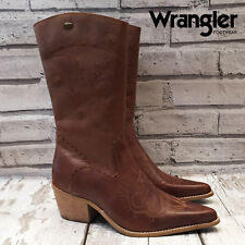 LADIES WRANGLER TAN BROWN LEATHER WESTERN COWBOY BOOTS CALF LENGTH SIZE EU 39 39