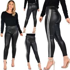 Womens High Waist Side Stripes Wet Look Leggings Ladies Party Wear Shiny Pants